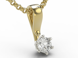 14ct yellow & white gold pendant with cubic zirconia LPW-8027ZB-C