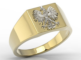 14ct yellow & white gold signet with an eagle SJ-24ZB