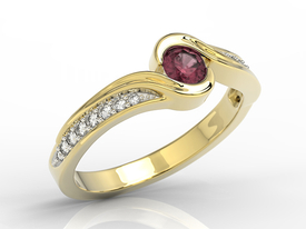 Diamond 0,14ct ruby 14ct yellow gold BP-28Z-R