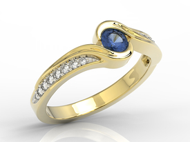 Diamond 0,14ct sapphire 14ct yellow gold BP-28Z-R