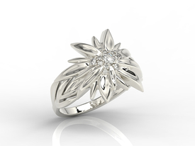 Diamond 14ct white gold in the shape of edelweiss BP-46B