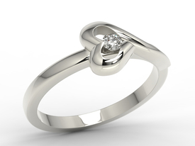 Diamond 14ct  white gold ring AP-1606B 0,06 ct