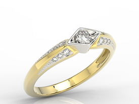 Diamond  14ct white & yellow gold ring AP-44ZB