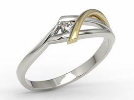 Diamond, 14ct white & yellow gold ring AP-72BZ