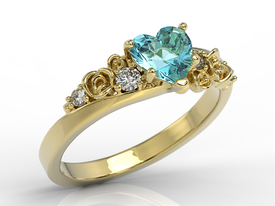 Diamond 14ct yellow gold ring with Swarovski Blue topaze AP-5312Z