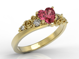Diamond 14ct yellow gold ring with Swarovski Red topaze AP-5312Z