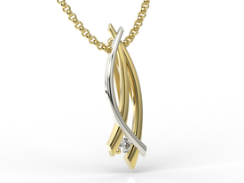 Diamond 14ct yellow & white gold pendant APW-72ZB