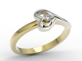 Diamond 14ct yellow & white gold ring AP-1606ZB 0,06 ct