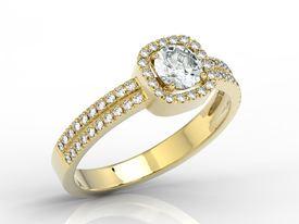Diamond & White Topaz 14ct yellow gold ring BP-52Z