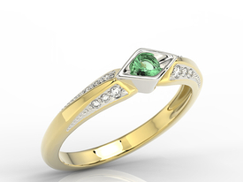 Diamond & emerald 14 ct white & yellow gold ring AP-44ZB