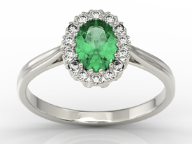 Diamond & emerald 14ct white gold marqise ring 0,21ct BP-12B