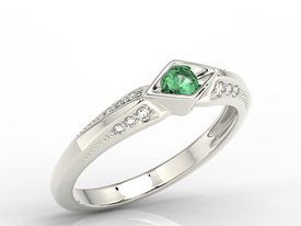 Diamond & emerald 14ct white gold ring AP-44B