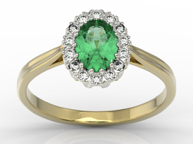 Diamond & emerald 14ct yellow & white gold marqise ring 0,21ct BP-12ZB