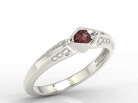 Diamond & garnet 14ct white gold ring AP-44B