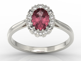 Diamond & ruby 14ct white gold marqise ring 0,21ct BP-12B