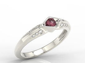 Diamond & ruby 14ct white gold ring AP-44B