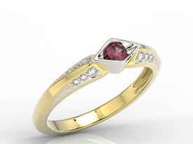 Diamond & ruby 14ct white & yellow gold ring AP-44ZB