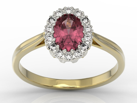 Diamond & ruby 14ct yellow & white gold marqise ring 0,21ct BP-12ZB