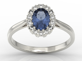 Diamond & sapphire 14ct white gold marqise ring 0,21ct BP-12B