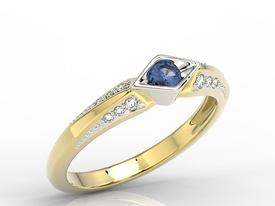 Diamond & sapphire 14ct white & yellow gold ring AP-44ZB