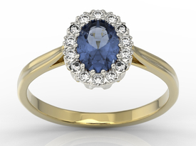 Diamond & sapphire 14ct yellow & white gold marqise ring 0,21ct BP-12ZB