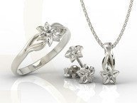 Diamond set - Ring, earrings and pendant 14ct white gold BP-14/BP-15B SET