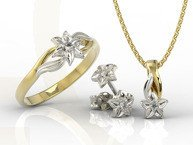 Diamond set - Ring, earrings and pendant 14ct yellow & white gold BP-14/BP-15B SET