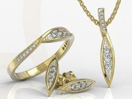 Diamond set - ring, earrings and pendant 14ct yellow gold AP-97Z-R