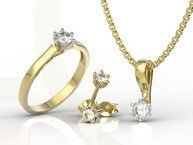 Diamond set - ring, earrings and pendant 14ct yellow & white gold LP-8027ZB-ZEST - 1,08 ct