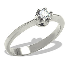 Diamond solitaire 14ct  white gold ring 0,12ct  AP-1012B