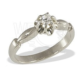 Diamond solitaire 14ct white gold ring CP-2012B