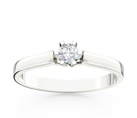 Diamond solitaire 14ct white gold ring LP-8016B