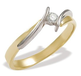 Diamond solitaire 14ct yellow & white gold engagement ring CP-4012ZB
