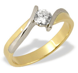 Diamond solitaire 14ct yellow & white gold engagement ring CP-4027ZB