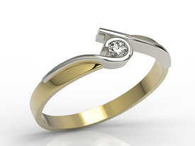 Diamond solitaire 14ct yellow & white gold ring 0,06 ct H/Si  AP-3206ZB