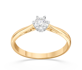 Diamond solitaire 14ct yellow & white gold ring AP-6618ZB