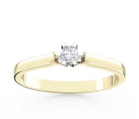 Diamond solitaire 14ct yellow & white gold ring LP-8010ZB