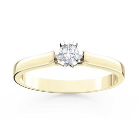 Diamond solitaire 14ct yellow & white gold ring LP-8016ZB