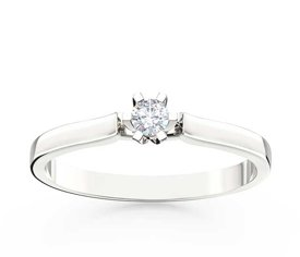 Diamond solitare engagement ring 14 ct white gold LP-8012B