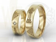 Diamond wedding rings for chess players, 14ct yellow gold in woman's ring diamond OB-05Z-R-D (paire)
