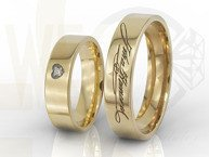Diamond wedding rings with yours signatures 14ct yellow gold OB-03Z-R-D