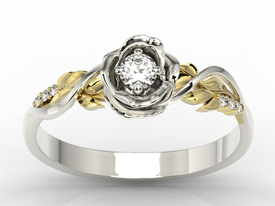 Diamond & white sapphire white & yellow gold ring in the shape  of rose LP-7715BZ