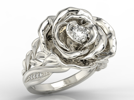 Diamonds 14 ct white gold ring in the shape of a rose  AP-95B