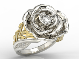 Diamonds 14 ct white & yellow gold ring in the shape of a rose  AP-95BZ