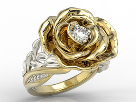 Diamonds 14 ct yellow & white gold ring in the shape of a rose  AP-95ZB