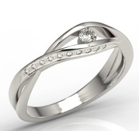 Diamonds 14 white gold ring LP-60B