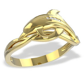 Diamonds 14ct gold ring in the shape of a dolphin LP-28Z