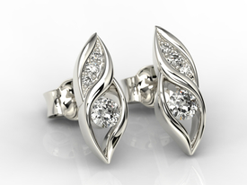 Diamonds 14ct white gold earrings APK-51B