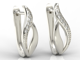 Diamonds, 14ct white gold earrings BPK-17B