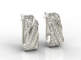 Diamonds 14ct white gold earrings JPK-68B